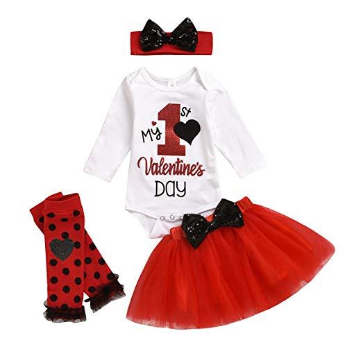 Conjunto de falda tutú para bebé niña con tutú para el primer día de San Valentín, mameluco con lentejuelas, lazo, falda de encaje con diadema, conjuntos de ropa