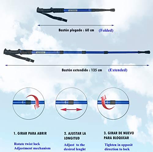 GO TREKK 2 Bastones de Senderismo Profesionales 60~135 cm+ Accesorios múltiples + Bandana Deportiva,Trekking Poles… 2