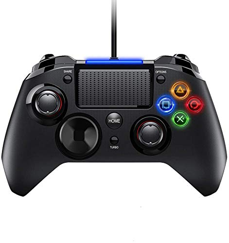VicTsing Gamepad Controller USB, Mando para PC con Cable Joysticks con Doble vibracion Turbo y Botones de activacion para PS4 / PS3 / PC (Windows XP / 7/8 / 8.1/10) / Android/Steam, Negro