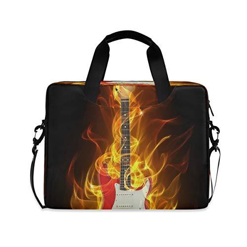 Laptoptasche für E-Gitarre in Feuer und Flammen Aktentasche, Computer-Tragetasche 40,6 cm (16 Zoll), Schutzhülle mit Griff, mehrere Taschen, niedliches Design