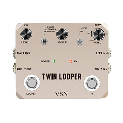 VSN Twin Looper Electric Guitar Effect Pedal Loop Station 11 Types of Play with 10...