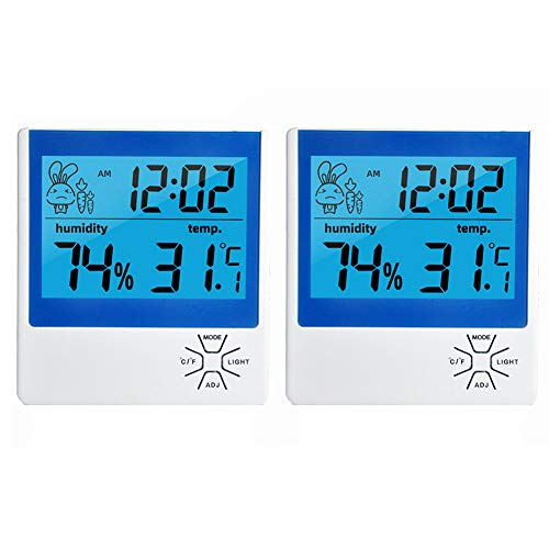 YANXS 2 Piezas Termómetro Higrómetro Digital Medidor de Humedad y Temperatura Termohigrometro para Interior y Exterior Habitación Casa Oficina Ambiente,Blanco,2pcs