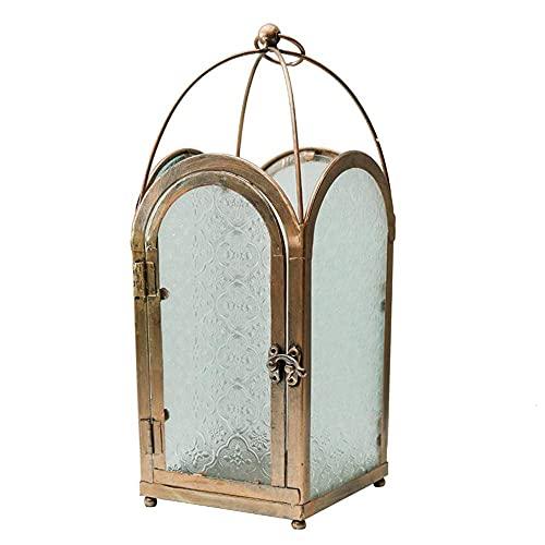 KELITINAus Linterna Decorativa, Arte de Hierro Marroquí Linterna de Cristal, Estilo Retro Industrial Colgante Lámpara de Viento Portátil de la Lámpara de Viento para Interiores O Al Aire Libre, Regal