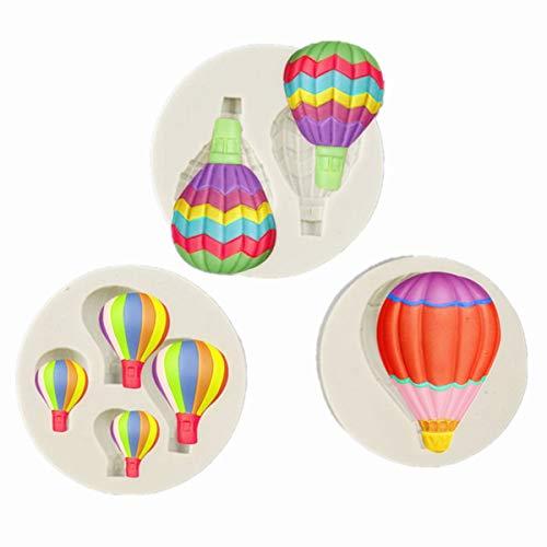 Juego de 3 moldes de silicona para fondant con globos de aire caliente para fiestas, baby shower, decoración de tartas, arcilla polimérica, yeso, porcelana, cera derretida, mini jabón y resina
