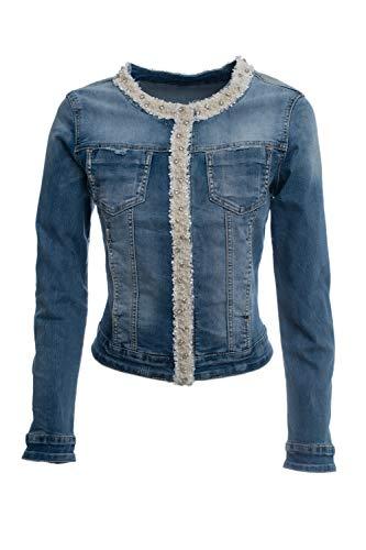 JOPHY & CO. Giacca Jeans Denim Donna Corta con Nastro Decorativo di Perle e Brillanti su Rifiniture (cod. JC050) (x_l)