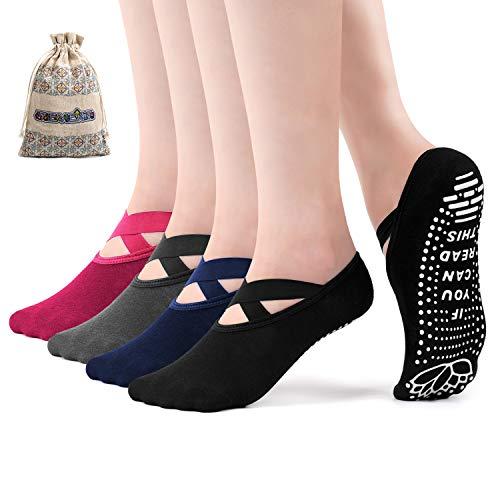SEVENS Yoga Socks for Women Non Slip Grip Socks for Pilates Barre Ballet with Grips & Straps, 4 Pairs(Blackgreyroseblue)