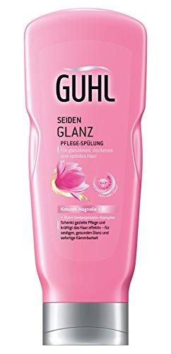 Guhl Seidenglanz Pflege Spülung/Conditioner - 2er Pack (2x 200 ml) - mit Kobushi-Magnolie - kräftigt das Haar langanhaltend - glättet die Haarstruktur gezielt