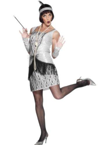Smiffys Disfraz de Joven a la Moda de los aos 20, Plateado, con Vestido, Cinta para la Cabeza y Guantes sin Dedos