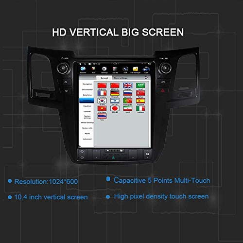 WHL.HH 12 Inch IPS Vertical Screen Tesla Style Android Touch Screen Car Stereo Radio GPS Navigation for Toyota Fortuner Revo 2004-2015 Multimedia Bluetooth