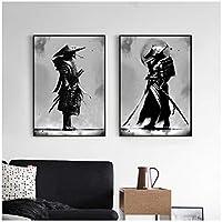 キャンバスに印刷黒と白の日本の侍肖像画壁アートキャンバス絵画ポスターとプリントリビングルームの家の装飾40x50cmx2フレームなし