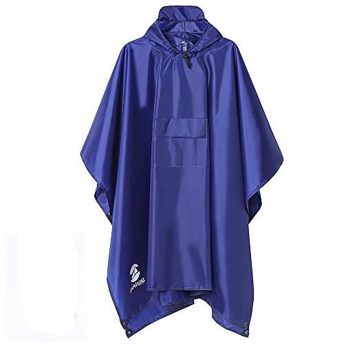 Multifunctional Mens Womens Rain Poncho Waterproof Outdoor Raincoat(Deep Blue)
