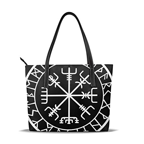 Viking Rune Tote Bags For Women Women Ladies Handbags Soft Pu Leather Top Handle Shoulder Bag Satchel Bag Shopper Bag For Women