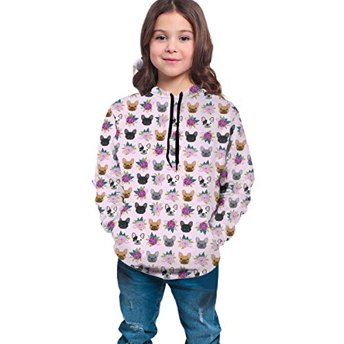 Youth Hooded Sweater French Bulldog Frenchie Florals Pink Boys Casual Hoodies Pocket Hooded Sweatshirt 7-20Y, S