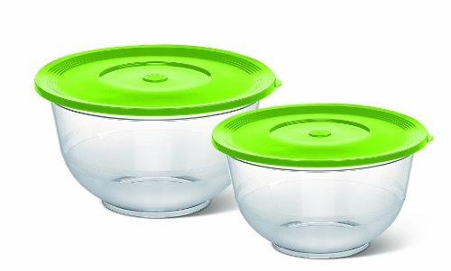 Emsa 514563 2er Set Salatschalen (mit Deckel, Glasklarer Kunststoff, 2 und 3.5 Liter, 22 und 26 cm, Superline) transparent/grün