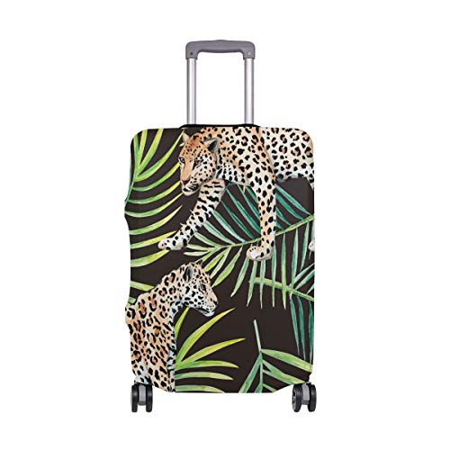 Orediy Elastic Travel Luggage Cover Leopard and Palm Leaves Print Trolley Case Suitcase Protector(Without Suitcase) S M L XL Size