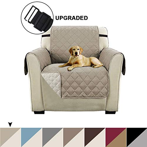 Turquoize Reversible Sofa Slipcover Quilted Furniture Protector for Chair, Water Resistant Chair Protector for Dogs with 2' Elastic Strap, Seat Width Up to 21' Reversible Chair Cover (Chair, Khaki)