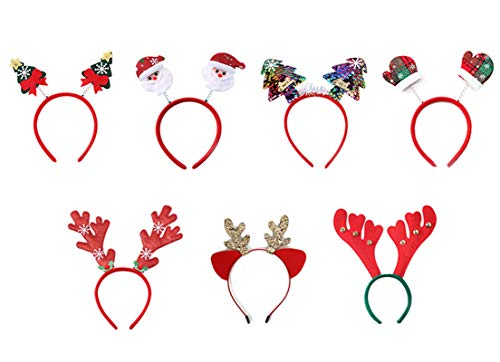 Muro Pack de 7 diademas para fiesta con diferentes diseños para Navidad y vacaciones (talla única)