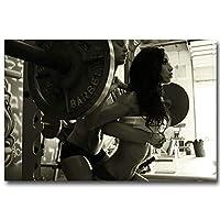 ボディービル動機付けの引用壁アートパネルウエイトトレーニング女性ポスタージムルーム重量挙げフィットネスエクササイズ壁の写真装飾40x60cmx1フレームなし