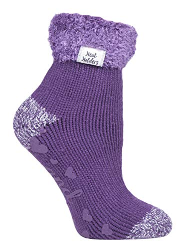 Heat Holders - Ladies Extra Soft Fluffy Non Slip Thermal Low Cut Ankle Slipper Lounge Bed Socks with Grips, HHL13, 4-8 uk, 37-42 eur