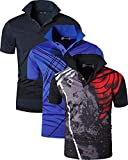 jeansian Homme 3 Piece Melanger Pack Quick Dry Sport Polo T-Shirt LSL195 MixPackD M