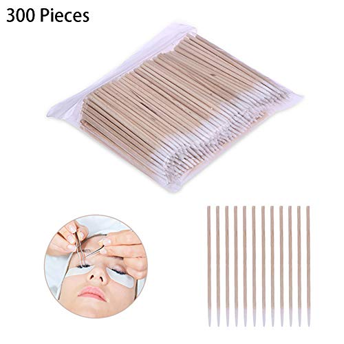 300 pièces en bois poignée coton Swab Tattoo Supplies permanent Coton-tige maquillage cosmétiques Sticks Assistant pour le maquillage Tattoo Sourcils