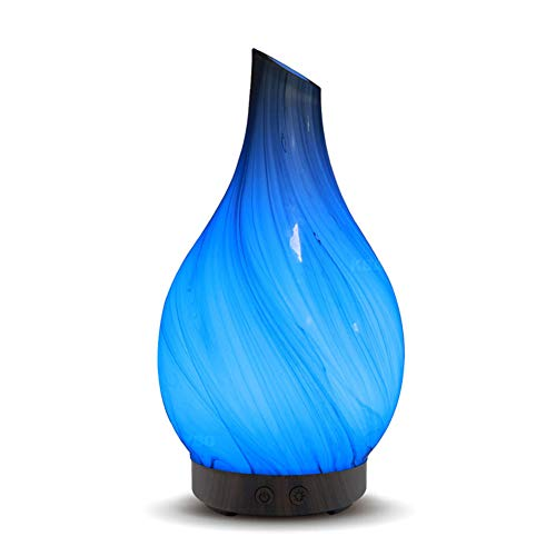 TOMNEW Glass Oil Diffuser 100ml Art Usltrasonic Essential Oil Aromatherpy Diffuser Humidifier for Home Office Living Room Spa Yoga (XB30)