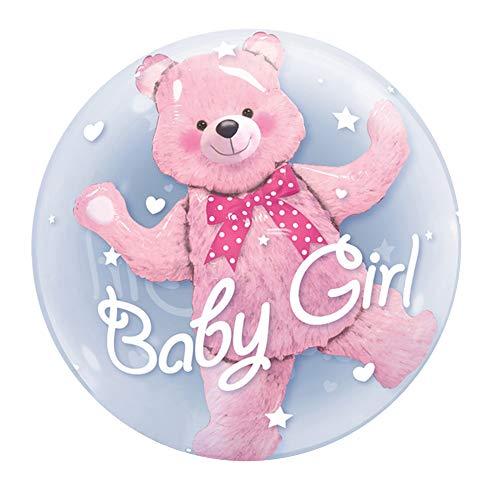 Qualatex Double Bubble Luftballon Baby Boy/Girl, Teddy Bär, 61cm (Einheitsgröße) (Transparent/Pink)