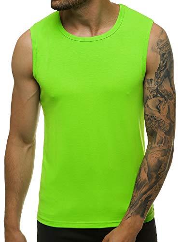 OZONEE Herren Tank Top Tanktop Tankshirt Ärmellos Bodybuilding Shirt Unterhemd T-Shirt Tshirt Tee Muskelshirt Achselshirt Trägershirt Ärmellose Training Sport Fitness 777/7835BO/31 GRÜN L