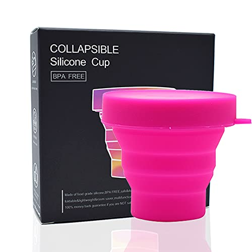 Esterilizador Plegable para Copa Menstrual - 100% Silicona de Grado Médico Reutilizable Con o Sin Microondas - Adecuada para Todo Tipo de Copas (Rosa)
