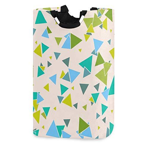Mnsruu Wäschekorb, dreieckig, geometrisches Muster, bunt, Aufbewahrungskorb, groß, faltbar, für Kinderzimmer, Schlafzimmer, Kinderzimmer