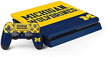 Skinit Decal Gaming Skin for PS4 Slim Bundle - Officially Licensed College Michigan Wolverines Split Design