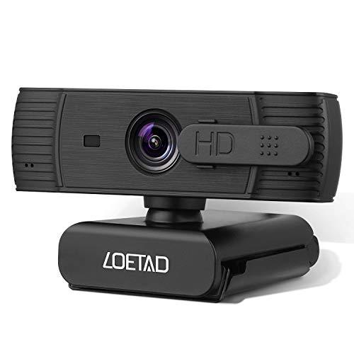 LOETAD Webcam 1080P Autofokus Full HD Kamera mit Abdeckung 2 Mikrofon Stereo Sound fur Video Chat Streaming