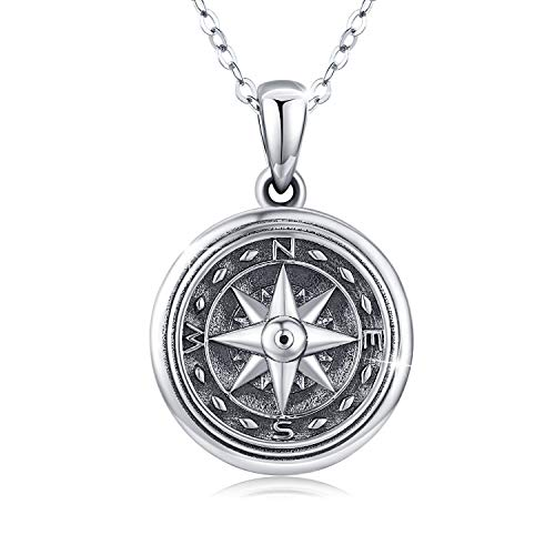 Compass Locket Necklace for Women,925 Oxidized Silver Lockets Necklace that Holds Pictures Memorial Photo Necklace Thanksgiving Christmas Stocking Stuffers Jewelry Gifts for Sister Best Friends