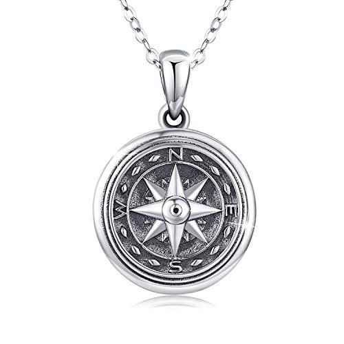 Collana con medaglione in argento Sterling con ciondolo a forma di bussola, per donne, uomini e ragazze, catenina in argento da 45,7 cm + 5,1 cm. e Argento, colore: A, cod. KINGWHYTE