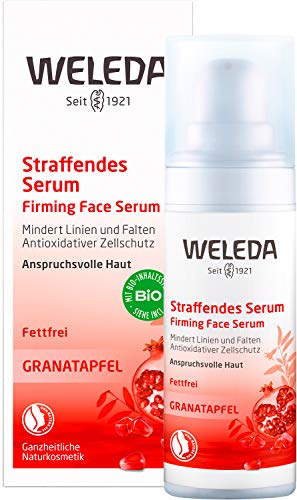 WELEDA Granatapfel Straffendes Serum, Naturkosmetik Pflegekonzentrat für Zellerneuerung und gegen Falten, spendet Feuchtigkeit gegen trockene Haut im Gesicht (1 x 30 ml)
