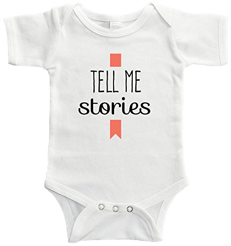 Starlight Baby Tell Me Stories Bodysuit (for Babies of Librarians, Authors, and Bookworms) (0-3 Months, White)