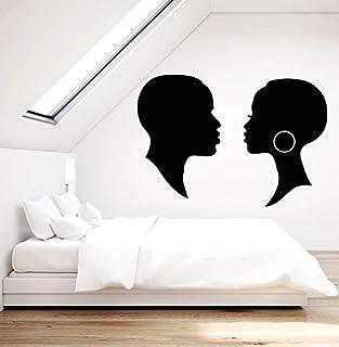 zqyjhkou Applique Murale en Vinyle Africain Noir Homme et Femme Romantique Maison..