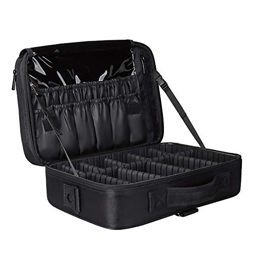 Travel Makeup Train Case Makeup Cosmetic Case Organizer Portable Artist Storage Bag with Adjustable Dividers for Cosmetics Makeup Brushes Toiletry (s black color medium)