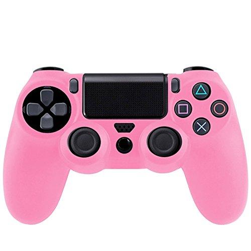 Movoja Controller-Schutzhülle passend für Sony PS4-Controller | Bumper Silikon Case Anti-Rutsch Playstation Bedienung | Perfekte Passform | Soft pink rosa