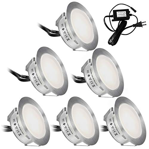SMY 6 Pack(Upgrade Version) Recessed LED Deck Lights Kit φ55mm, in Ground Outdoor LED Landscape Lighting Waterproof IP67,12V Low Voltage for Garden,Yard Steps,Stair,Patio,Pool Deck,Kitchen Decoration