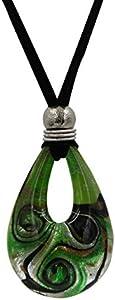 Priann Gioielli - Collar de mujer de cristal de Murano con forma de lágrima, fabricado con hoja de oro de 24 quilates o plata 925. Fabricado en Italia. Verde