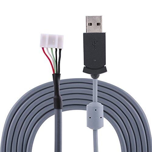Reemplazo de línea de ratón USB Estable de 2 m, Cable de ratón, Gris práctico de 3,3 mm para ratón de Alambre