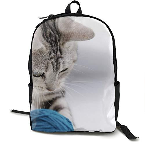 Rucksack mit Katzenbällen, für Schule, Büchertasche, Reisen, Laptop, Rucksack für Kinder, Studenten, Erwachsene