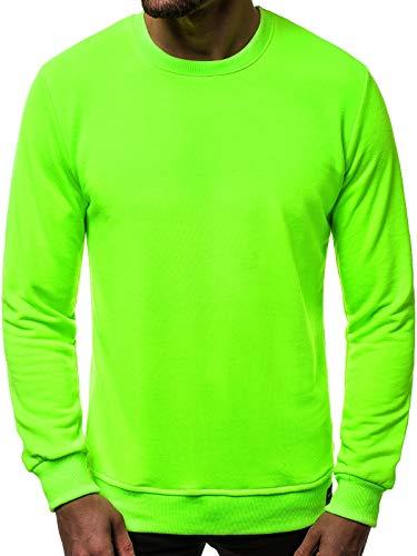 OZONEE Herren Sweatshirt Pullover Classic Basic Rundhals-Ausschnitt MACH/3122 GRÜN-NEON M
