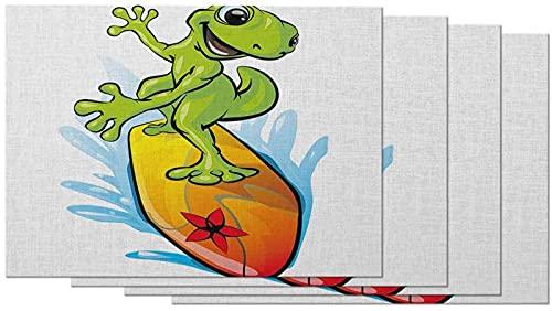 aipipl Lindos manteles Individuales de Dibujos Animados Gecko, Juego de 4 manteles Individuales de Lagarto Verde, Tabla de Surf, Verano, mar, Playa, Olas para Mesa de Comedor, Lino de algodón de 12