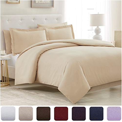 Mellanni Duvet Cover Queen Set 5pcs - Soft Double Brushed Microfiber Bedding with 2 Shams and 2 Pillowcases - Button Closure and Corner Ties - Wrinkle, Fade, Stain Resistant (Full/Queen, Beige)
