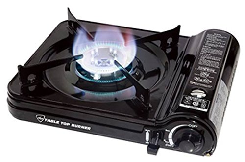 Max Burton 8253 Table Top Gas Burner, Black, 7650 BTU, Piezoelectric Ignition, Heavy Gauge Metal Body and Porcelain Enamel Coated Steel Drip Pan, Includes a Hard-Sided Plastic Carrying Case