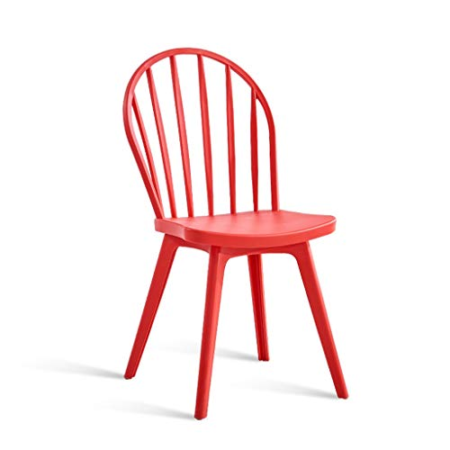 Windsor Chairs, Plastic Dining Chair Mid Century Modern Design Stackable, Home Armless Chairs, Dining Room, Kitchen, Bedroom, Lounge Side Chairs (Color : Red)