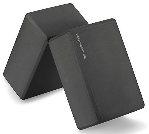BalanceFrom GoYoga Set of 2 High Density Yoga Blocks 9quotx6quotx4quot Each Newest Version Black