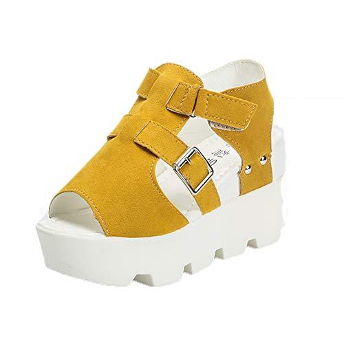 Sandalias de tacón de cuña de Mujer Verano tacón Alto Peep Toe de la Tira de Tobillo Casual Zapatos de tacón de Moda Plataforma